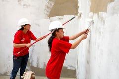Olika gemenskapmedlemmar som bygger ett low costhus i Soweto Arkivbilder