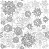 Olika gråa smutsiga snöflingor på vit Arkivfoto
