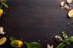Olika grönsaker och örter på den mörka wood tabellen Arkivfoton