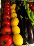 Olika grönsaker och citrusfrukter arkivfoton
