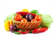 Olika grönsaker som isoleras på vit bakgrund Arkivbild