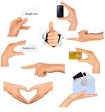 olika händer för affär som rymmer objekt inställda royaltyfri illustrationer