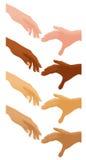 olika händer som hjälper nationer Royaltyfri Bild