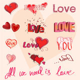 Olika handstilar av förälskelse stock illustrationer