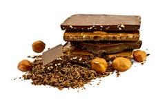olika hasselnötter för choklad Royaltyfri Foto