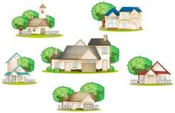 Olika hus vektor illustrationer