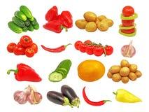 olika isolerade set grönsaker Fotografering för Bildbyråer