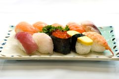 olika japanska sushi för mat Royaltyfria Bilder