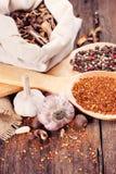 Olika kryddor för att laga mat Arkivbild