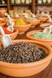 Olika kryddor i träbunkar Fotografering för Bildbyråer