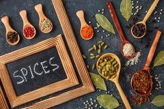 Olika kryddor i träskedar på den mörka stentabellen royaltyfria bilder
