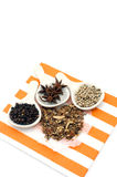 Olika kryddor på vit bakgrund Royaltyfri Fotografi