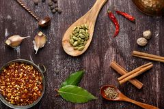 Olika kryddor p? m?rk brun bakgrund royaltyfria foton