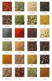 Olika kryddor som isoleras på vit bakgrund. Royaltyfria Foton