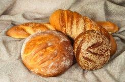 Olika kvaliteter av bröd i mitt av plundra arkivbild