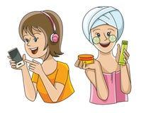 Olika kvinnliggrupper Stock Illustrationer