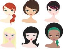 olika kvinnor stock illustrationer