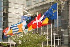 Olika landsflaggor framme av Europaparlamentet i Bryssel, Belgien Royaltyfri Bild