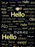 Olika landsspråk för hälsningar stock illustrationer
