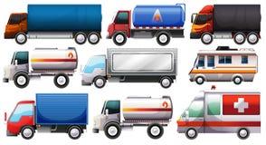 Olika lastbilar stock illustrationer