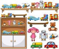 Olika leksaker på trähyllorna Fotografering för Bildbyråer