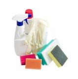 Olika lokalvårdsvampar, flaskor av rengöringsmedlet, rubber glov Royaltyfri Foto