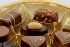 Olika lyxiga choklader Arkivfoto