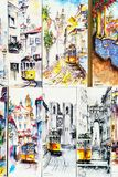 Olika målningar som är till salu av den historiska spårvagnen i den i stadens centrum Lissabon staden Arkivbilder