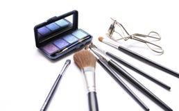 Olika makeupborstar Arkivfoton