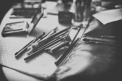 Olika makeupprodukter, oväsen, litet djup av fokusen Royaltyfri Bild