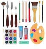 Olika material för konstnärer Utrustning för att måla klar vektor för nedladdningillustrationbild vektor illustrationer