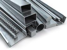 Olika metallprodukter Rostfritt stålprofiler och rör royaltyfri illustrationer