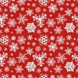 Olika moderna snöflingor på röd bakgrund royaltyfri illustrationer