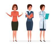 Olika moderna yrken för kvinna` s Lärare affärskvinna, sjukhusdoktor vektor illustrationer