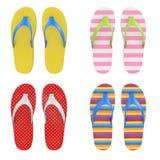 Olika Multicolour Flip Flops Sandals framförande 3d royaltyfri illustrationer