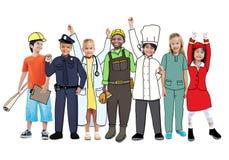 Olika multietniska barn med olika jobb Arkivbild