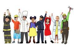 Olika multietniska barn med olika jobb Arkivbilder