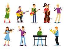 Olika musiker, tecken i plan stilvektorillustration stock illustrationer