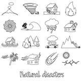 Olika naturkatastrofproblem i världen skisserar symboler eps10 Royaltyfri Foto