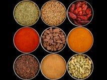 olika nio kryddor royaltyfri bild