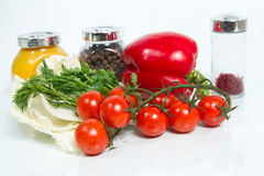 Olika nya grönsaker och kryddor på vitbakgrund. Fotografering för Bildbyråer