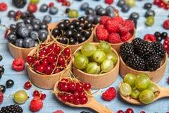 Olika nya sommarbär Top beskådar Bär för efterrätt för mat för färg för bärblandningfrukt Antioxidants detox bantar, organiska fr Royaltyfri Foto