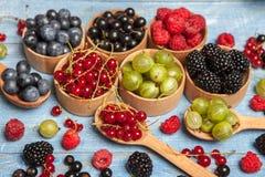 Olika nya sommarbär Top beskådar Bär för efterrätt för mat för färg för bärblandningfrukt Antioxidants detox bantar, organiska fr Royaltyfri Fotografi