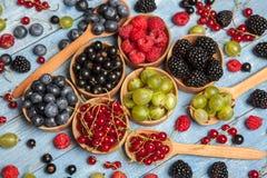 Olika nya sommarbär Top beskådar Bär för efterrätt för mat för färg för bärblandningfrukt Antioxidants detox bantar, organiska fr Fotografering för Bildbyråer