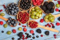 Olika nya sommarbär Top beskådar Bär för efterrätt för mat för färg för bärblandningfrukt Antioxidants detox bantar, organiska fr Arkivfoto