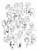 Olika och liknande framsidor royaltyfri illustrationer