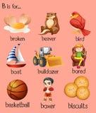 Olika ord börjar med bokstav B royaltyfri illustrationer