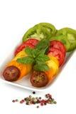 olika organiska tomatvariationer Arkivbild