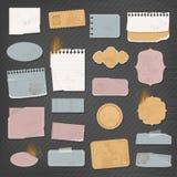 Olika pappers- objekt Stock Illustrationer