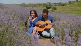 Olika par som tycker om den romantiska picknicken i natur stock video